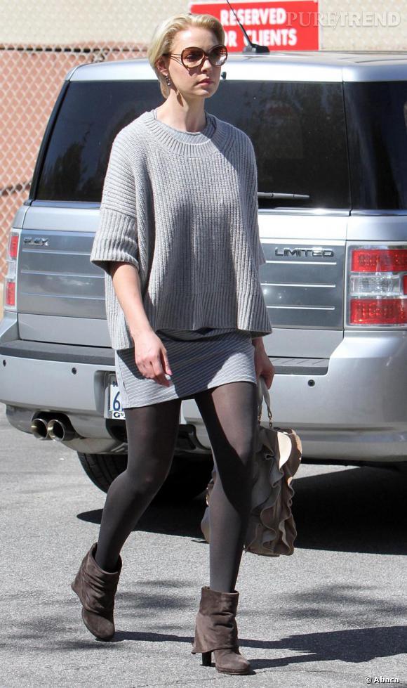 Tenue peu flatteuse pour Katherine qui se sauve du flop grâce à son sac et ses bottines.
