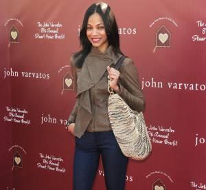 Zoe Saldana, cuir et léopard... À shopper !