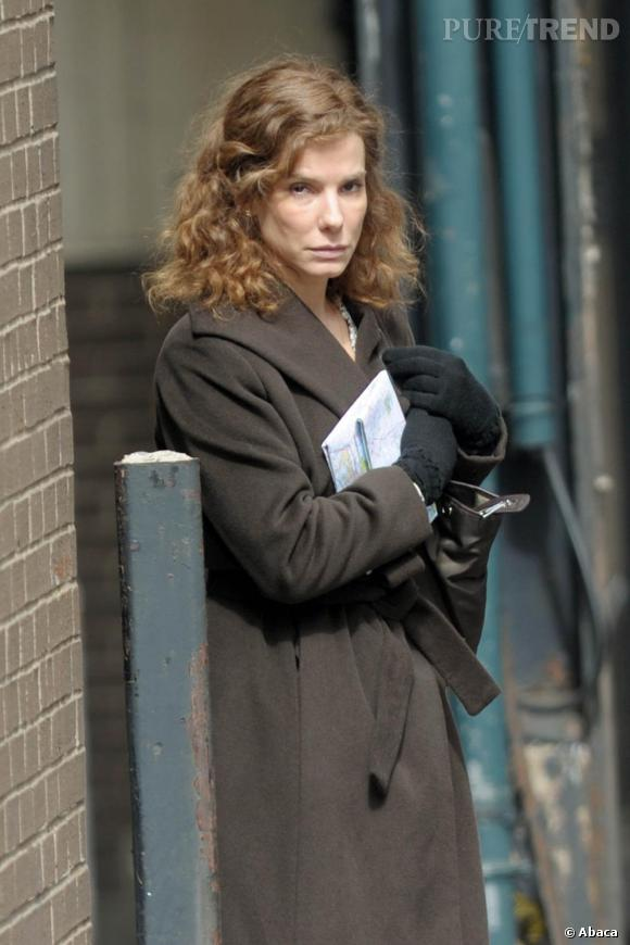 Sandra Bullock en tournage dans les rues de New York.
