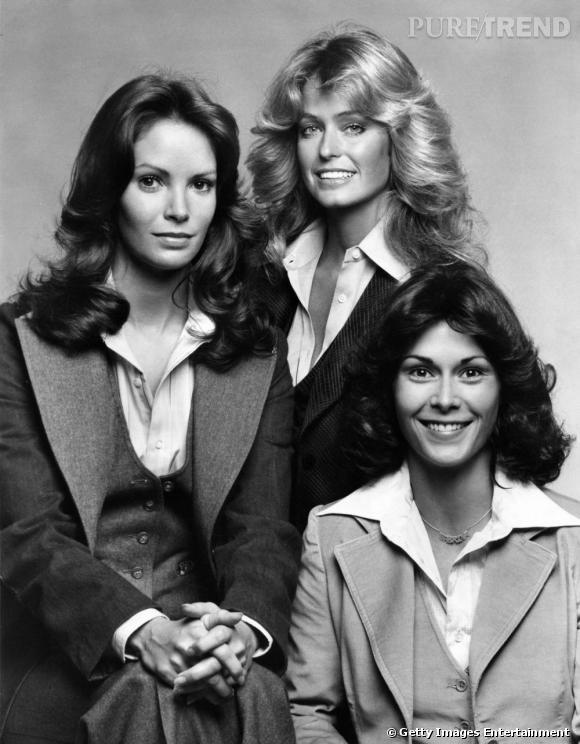 """Comment on se coiffait dans les années 70 ? Le brushing soigné des """"drôles de dames"""" et notamment celui de l'actrice Farrah Fawcett très soufflé devenu mythique."""