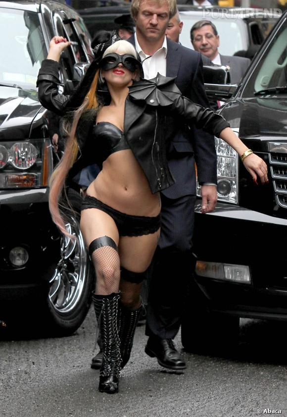 Lady Gaga devant le show de David Letterman, à New York.