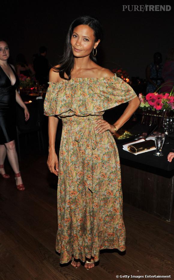 """Thandie Newton, bohème, à la conférence new-yorkaise """"Viva Vevolution""""."""