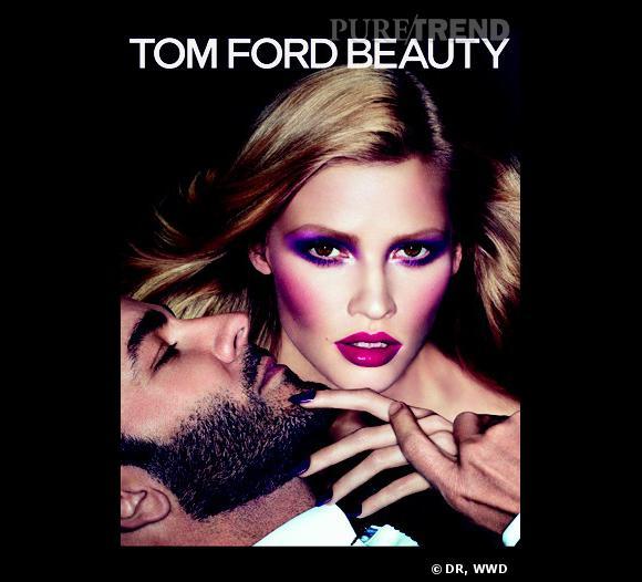La nouvelle campagne publicitaire de la ligne de cosmétiques Tom Ford incarnée par le top Lara Stone.