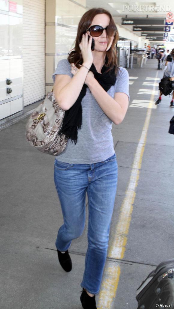 Emily Blunt à l'aéroport de Los Angeles.