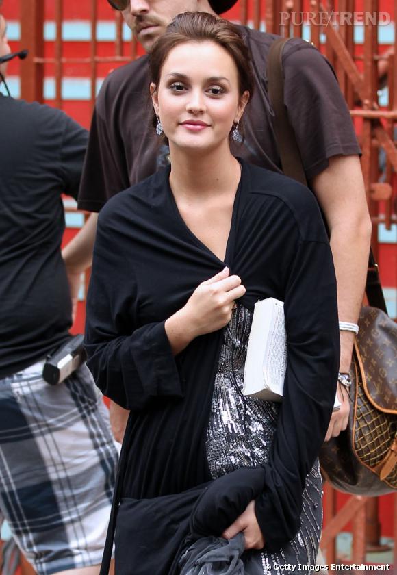 Leighton Meester sur le tournage de la saison 5 de Gossip Girl à New York.
