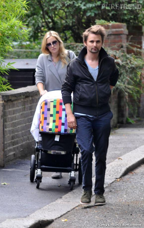 Kate Hudson et Matthew Bellamy avec leur petit Bingham, né le 9 juillet.