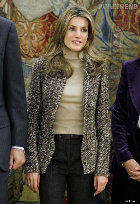 Letizia Ortiz, l'élégance en col roulé.  Verdict : on adopte.