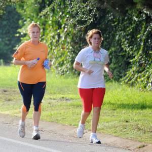 Sarah Ferguson et sa fille Princesse Béatrice en pleine séance de jogging.