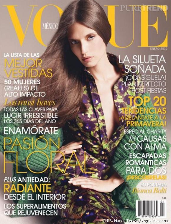 Bianca Balti, cover-girl du Vogue Mexique de janvier 2012.