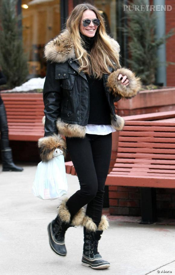 elle macpherson l 39 ann e derni re dans la station d 39 aspen look fourrure pour une tenue d 39 hiver. Black Bedroom Furniture Sets. Home Design Ideas