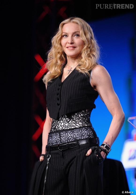 Madonna lors de la conférence de presse de la mi-temps du Super Bowl organisée jeudi à Indianapolis.