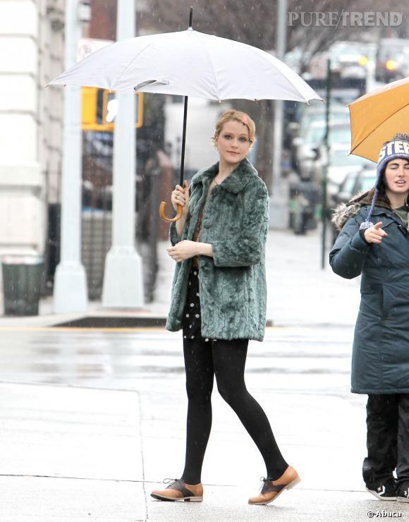 """Evan Rachel Wood sur le tournage de son prochain film """"A Case of You"""" à New York."""
