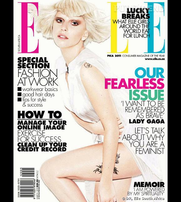 Lady Gaga pose pour la couverture de Elle South Africa.