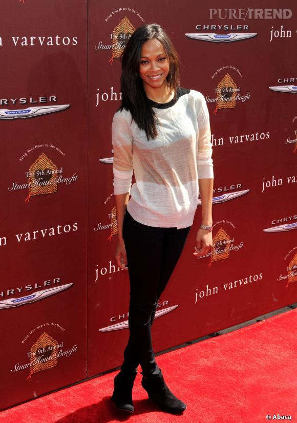 Zoe Saldana lors de laé 9ème édition du gala de charité Stuart House organisé par John Varvatos à Los Angeles.