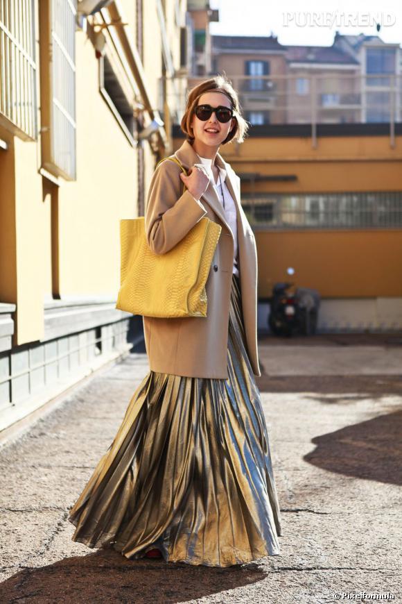 La tendance plissée dans la rue Street Style Milan
