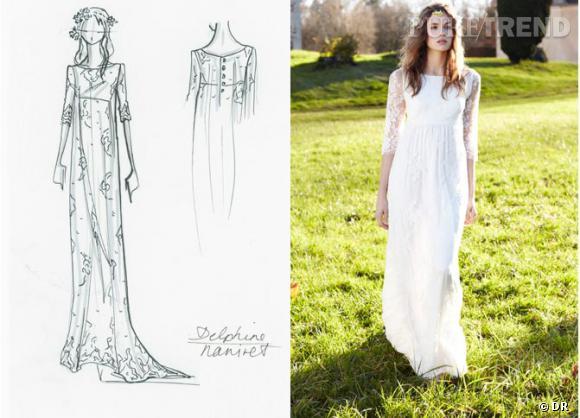 Longue robe fluide en dentelle de Delphine Manivet pour La Redoute.