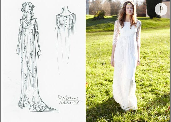 longue robe fluide en dentelle de delphine manivet pour la redoute. Black Bedroom Furniture Sets. Home Design Ideas