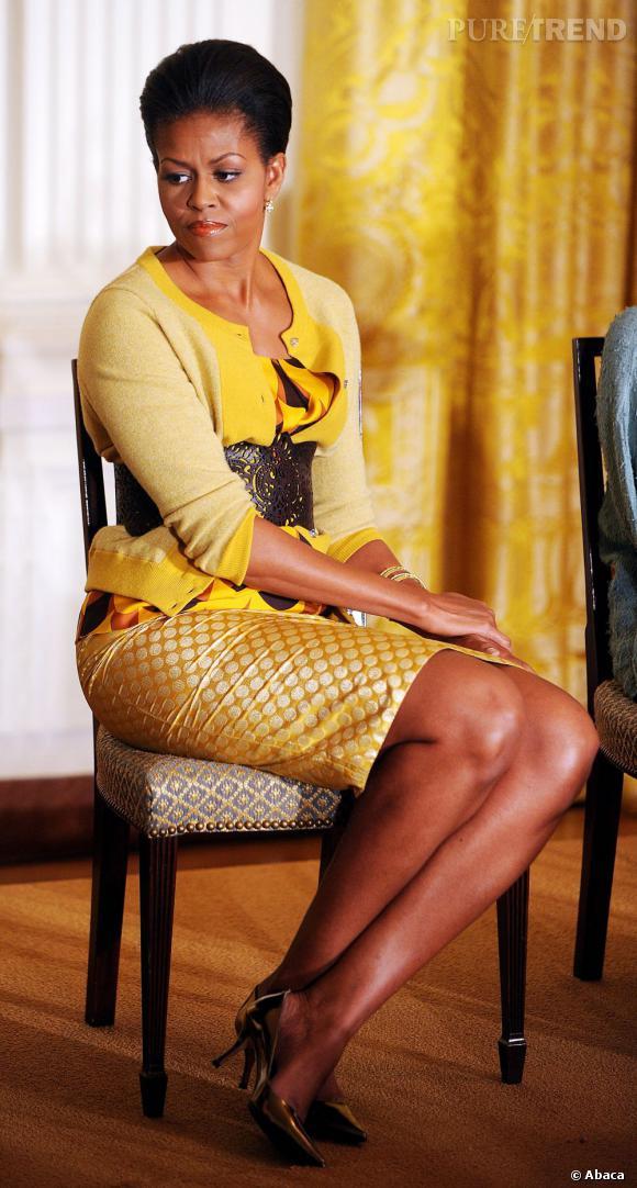 Parfois Michelle Obama n'hésite pas à montrer qu'elle s'ennuie.