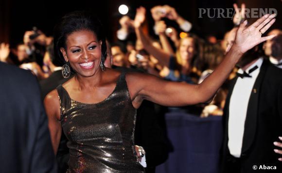 Michelle Obama ou le glamour glitter le soir venu.