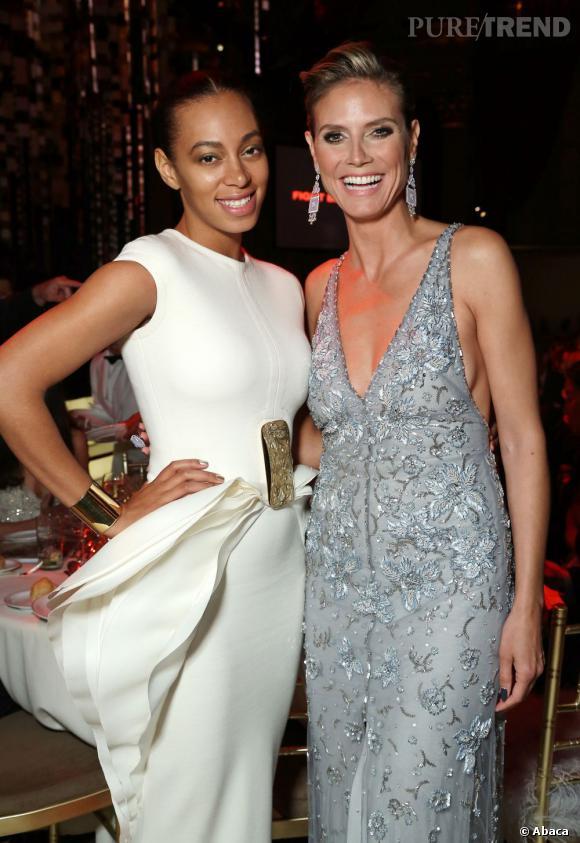 Heidi Klum et Solange Knowles lors du DKMS Linked Against Blood Cancer gala organisé à New York.