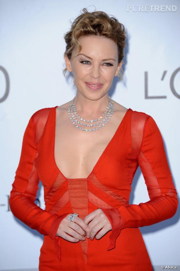 Kylie Minogue à la soirée de l'amfAR à Cannes.