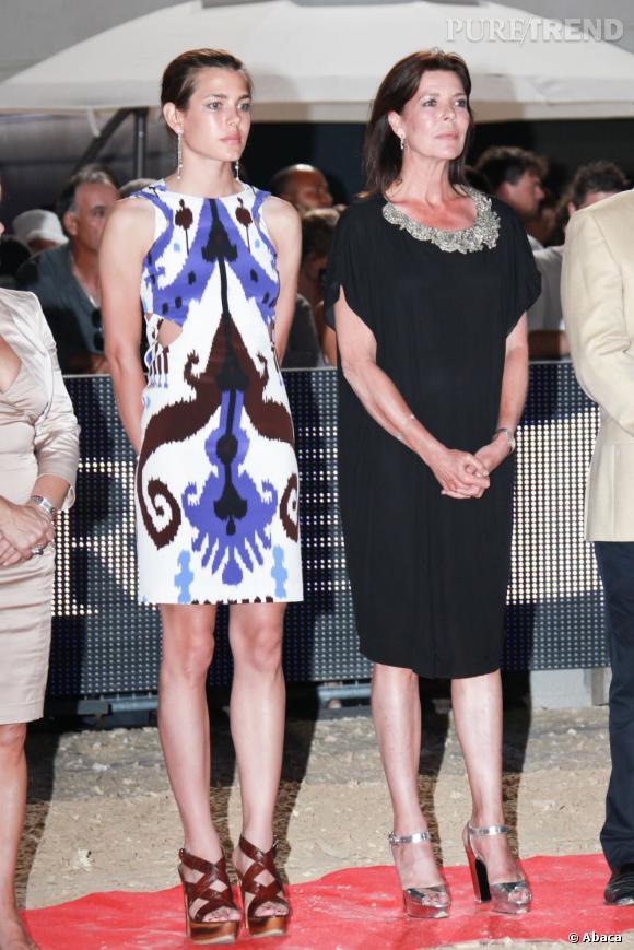 Charlotte Casiraghi et sa mère, la Princesse Caroline. L'élégance monégasque de mère en fille.