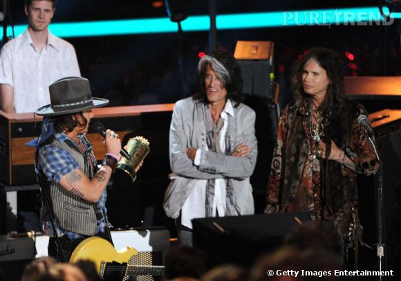 Johnny Depp aux côtés de Steven Tyler et Joe Perry.