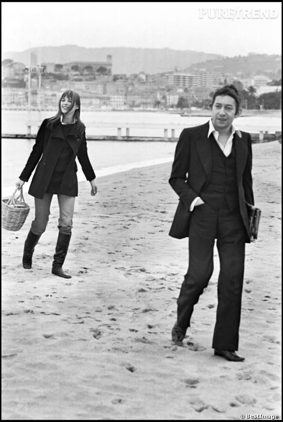 Serge Gainsbourg et Jane Birkin sur la plage de Cannes