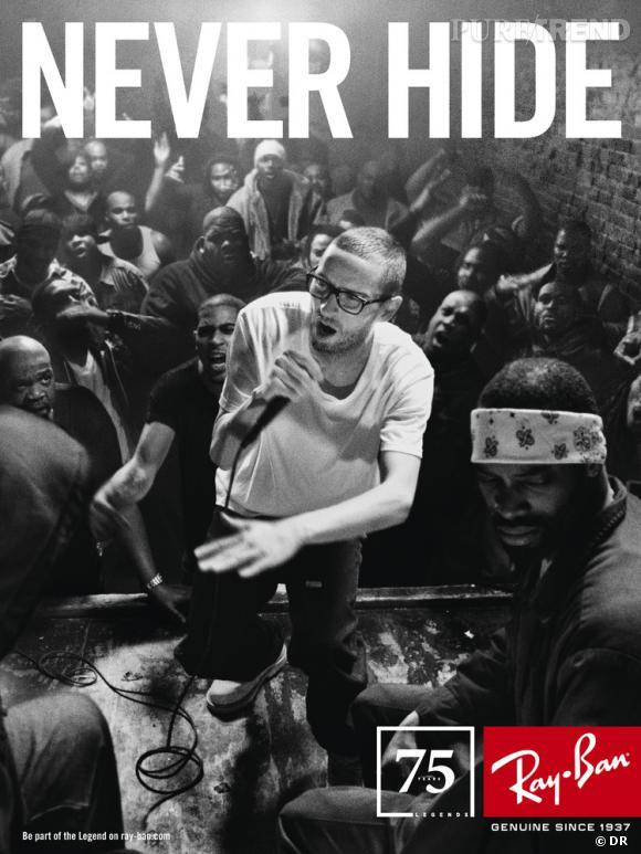 """Campagne anniversaire Ray-Ban par Mark Seliger.   Années 90 : L'histoire et le courage de R.A. """"The Rugged Man"""", rappeur américain."""