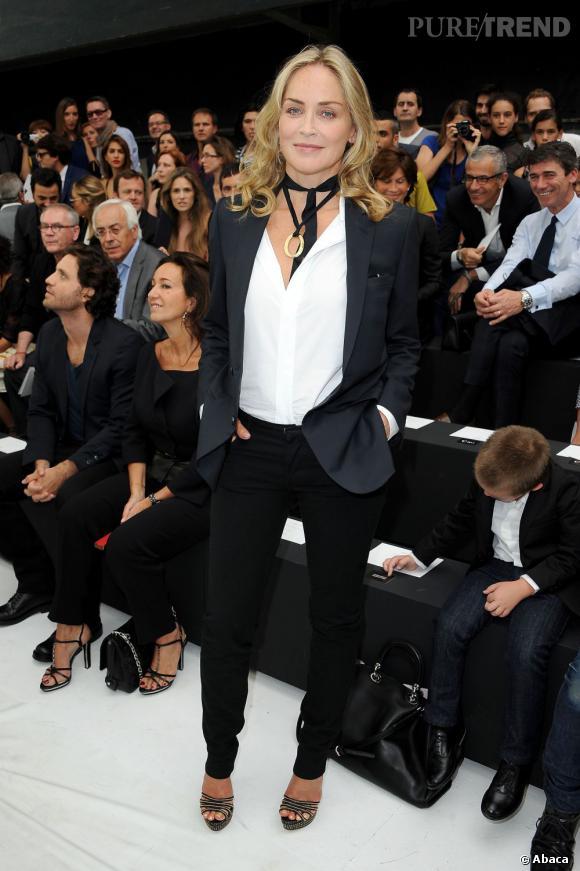 Sharon Stone s'est rendue au défilé Dior Homme à Paris.