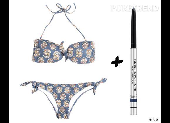 Maillot de bain + maquillage waterproof : les bonnes combinaisons mode et beauté de l'été 2012 Bikini Oysho haut, 19,99 € et bas, 14,99 € + eyeliner Diorshow Liner Waterproof, couleur marine, Dior, 20,70 €