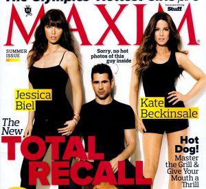 "Jessica Biel et ses partenaires dans ""Total Recall"" en couv de Maxim."