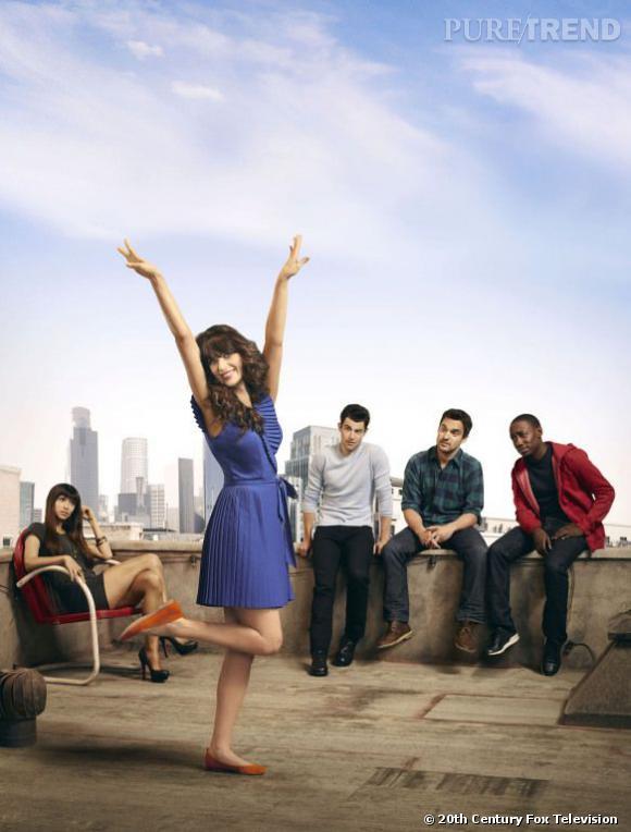 """""""New Girl"""", c'est une héroïne, Jess (Zooey Deschanel) et sa bande : ses trois colocs et sa meilleure amie, Cece."""