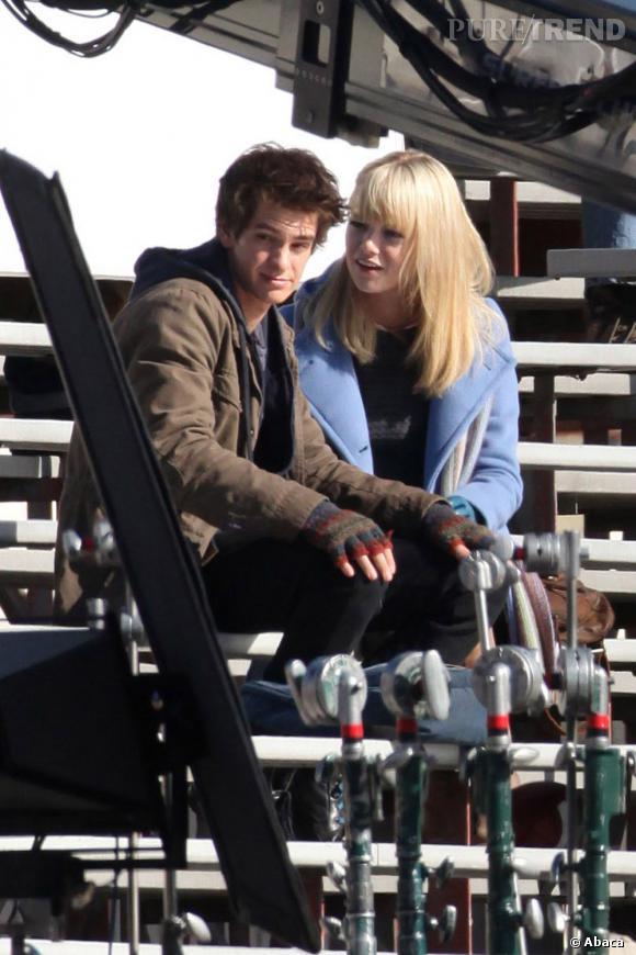 """Emma Stone et Andrew Garfield sur le tournage de """"The Amaing Spiderman"""""""