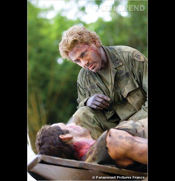 """Dans """"Tonnerre sous les Tropiques"""", Robert Downey Jr se fait passer pour noir avant de révéler sa véritable nature... blonde."""