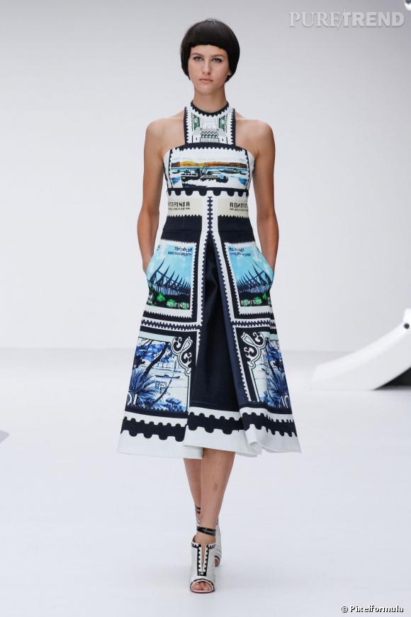 La marque : Mary Katrantzou. Longueur originale et imprimé carte postale, il faut une jeune femme audacieuse pour porter ça..