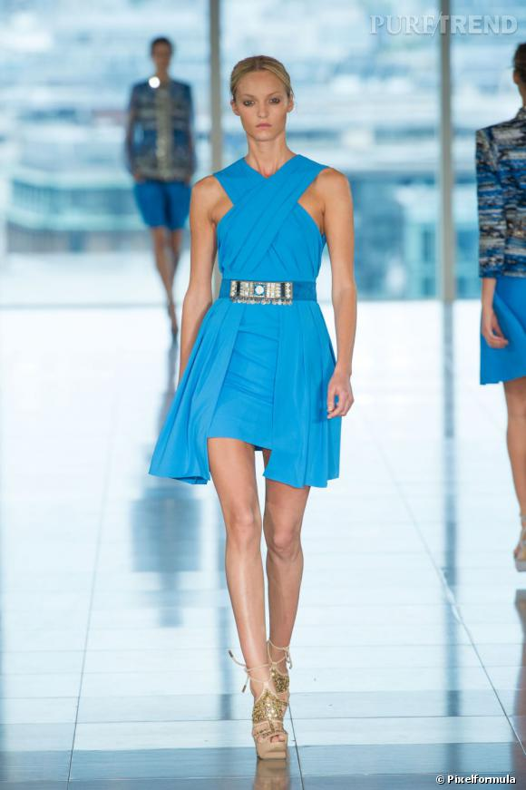 La marque :  Matthew Williamson. Une actrice adore Williamson ainsi que la couleur bleu turquoise...