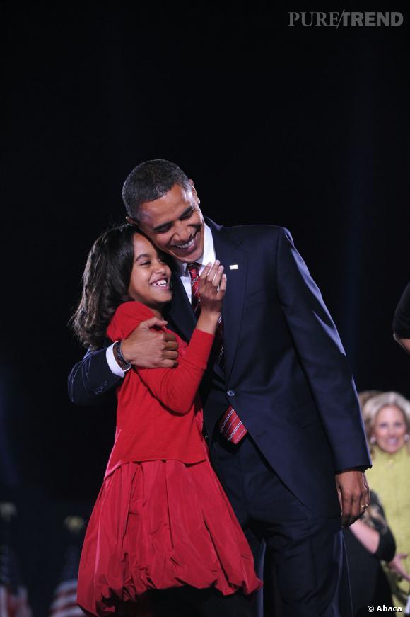 Malia Obama à l'une de ses premières apparitions avec son père