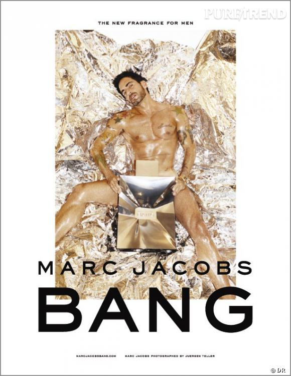Marc Jacobs nu pour son nouveau parfum Bang, en 2010.