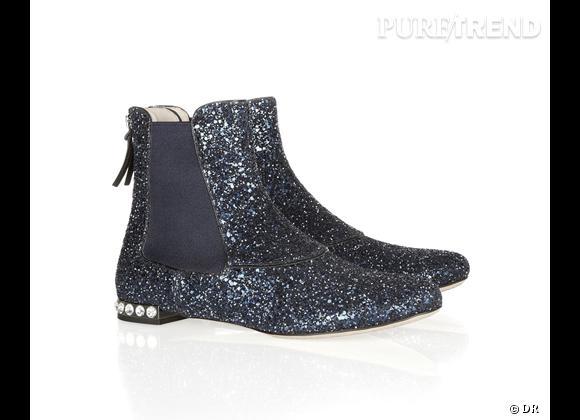 50 bottes, boots et bottines pour cet hiver !       Boots glitter Miu Miu, 530 € sur  www.net-a-porter.com