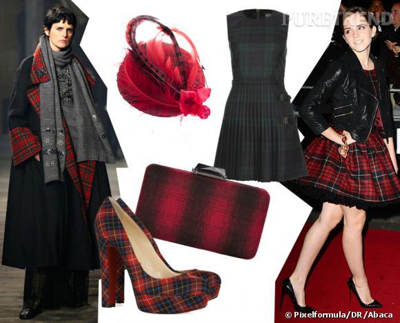 Tendance carreaux écossais : le tartan Silhouette Chanel défilé Paris-Edimbourg et Emma Watson