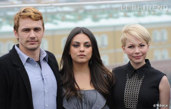 James Franco et ses co-stars du film Le Monde Fantastique d'Oz, Mila Kunis et Michelle Williams.