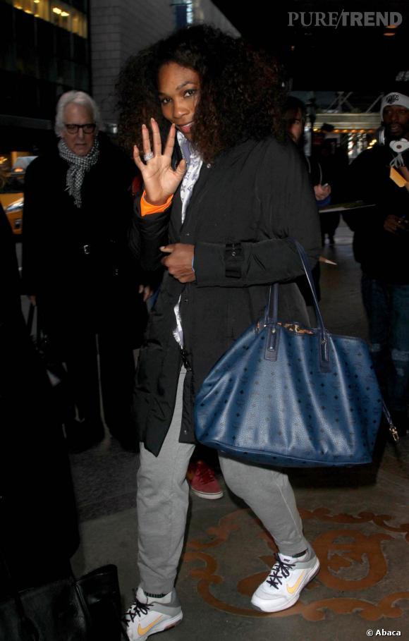 Serena Williams à la sortie de son hôtel à New York.