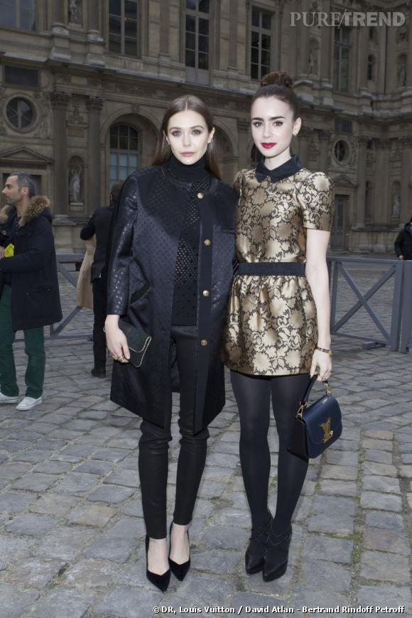 Elizabeth Olsen et Lily Collins au défilé Louis Vuitton.