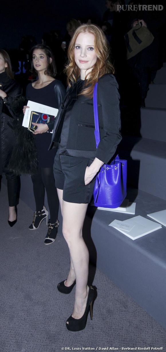 Jessica Chastain au défilé Louis Vuitton.