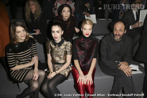 Céline Salette, Lily Collins, Léa Seydoux et Luca Guadagnino chez Louis Vuitton.