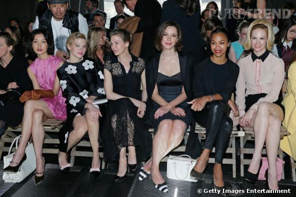 Léa Seydoux, Renee Zellweger, Rebecca Hall, Zoe Saldana et January Jones au premier rang du défilé Miu Miu à Paris.