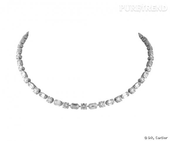 Favori Le collier ras de cou Cartier en platine et diamants porté par  ND61