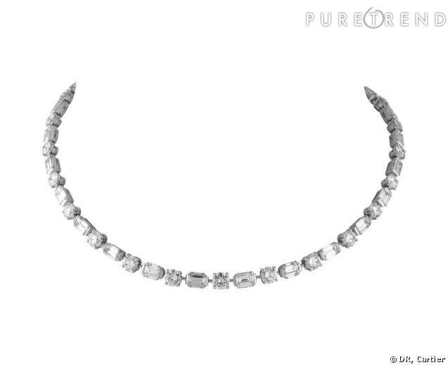 le collier ras de cou cartier en platine et diamants port par charlotte casiraghi. Black Bedroom Furniture Sets. Home Design Ideas