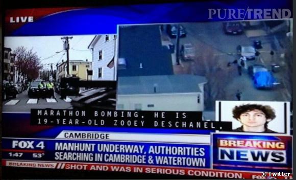 Zooey Deschanel poste sur Twitter la capture d'écran de son nom sur la Fox pour les attentats de Boston.